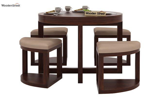Alvan 4 Seater Round Dining Set (Walnut Finish)-2