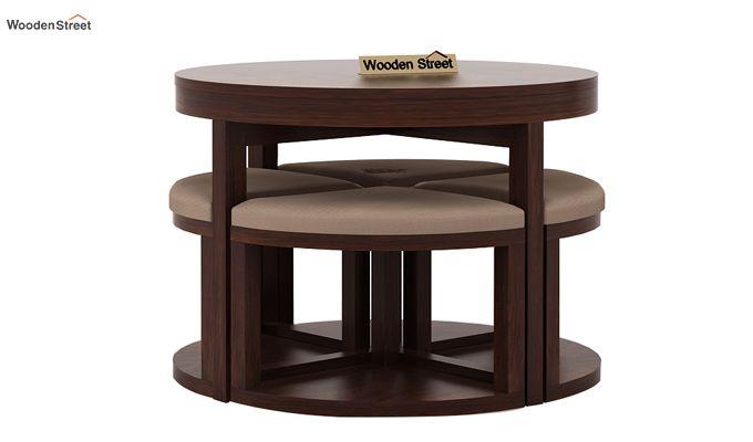 Alvan 4 Seater Round Dining Set (Walnut Finish)-4