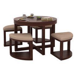 Alvan 4 Seater Round Dining Set (Walnut Finish)