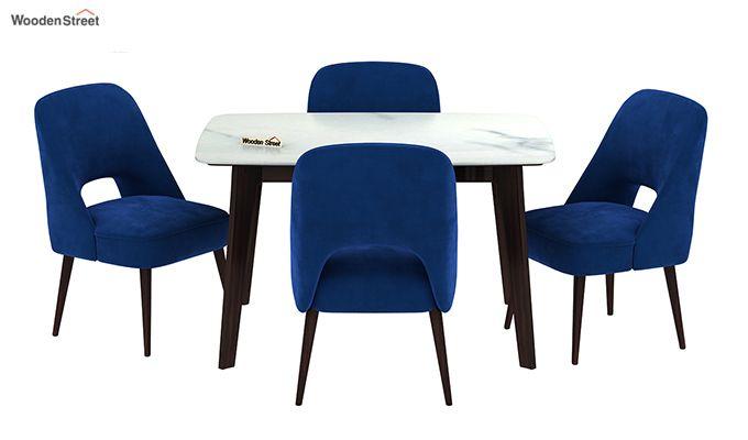 Amoha 4 Seater Marble Top Dining Set (Walnut Finish)-3