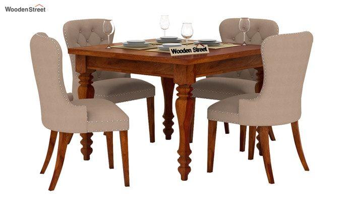 Amora 4 Seater Dining Table Set (Honey Finish)-2
