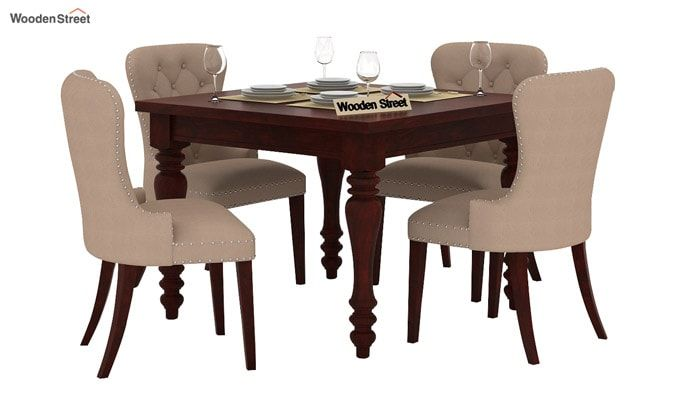 Amora 4 Seater Dining Table Set (Mahogany Finish)-1