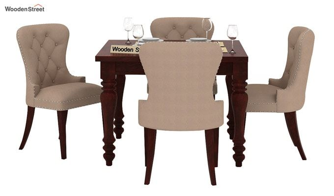 Amora 4 Seater Dining Table Set (Mahogany Finish)-2
