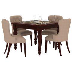 Amora 4 Seater Dining Table Set (Mahogany Finish)