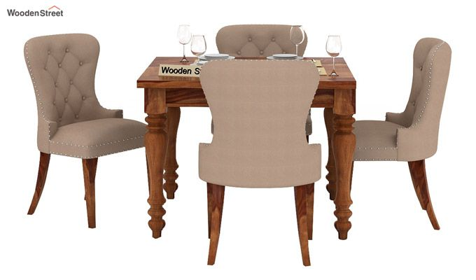 Amora 4 Seater Dining Table Set (Teak Finish)-2