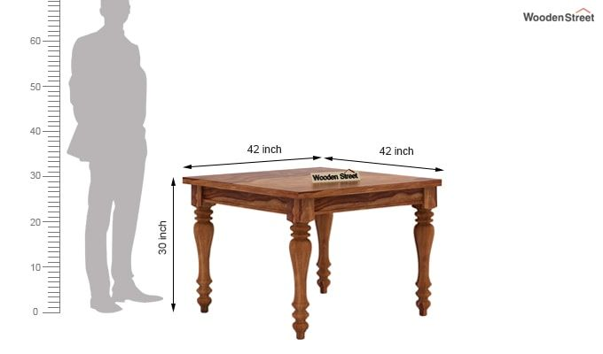 Amora 4 Seater Dining Table Set (Teak Finish)-7