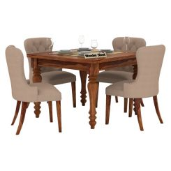 Amora 4 Seater Dining Table Set (Teak Finish)