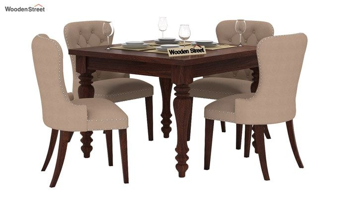Amora 4 Seater Dining Table Set (Walnut Finish)-1