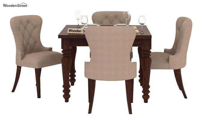 Amora 4 Seater Dining Table Set (Walnut Finish)-2