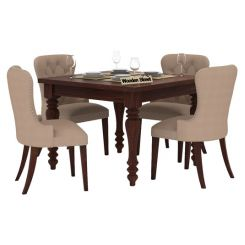 Amora 4 Seater Dining Table Set (Walnut Finish)