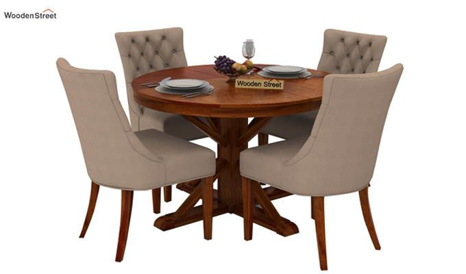 Ashford 4 Seater Dining Table Set (Honey Finish)-1