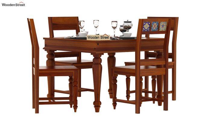 Boho 4 Seater Dining Table Set (Honey Finish)-2