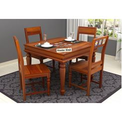 Boho 4 Seater Dining Table Set (Honey Finish)
