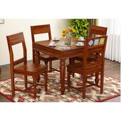 Boho 4 Seater Dining Table Set (Honey Finish)