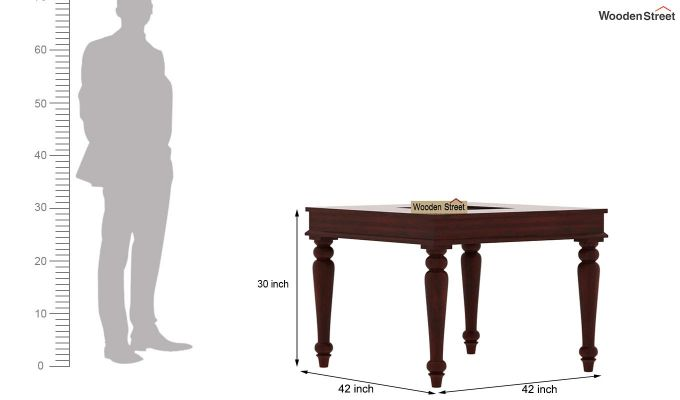 Boho 4 Seater Dining Table Set (Mahogany Finish)-9