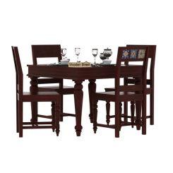 Boho 4 Seater Dining Table Set (Mahogany Finish)