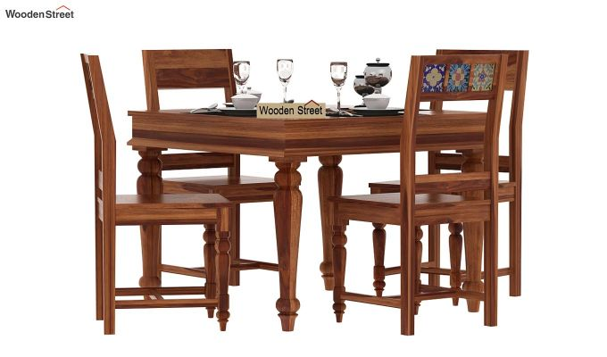 Boho 4 Seater Dining Table Set (Teak Finish)-1