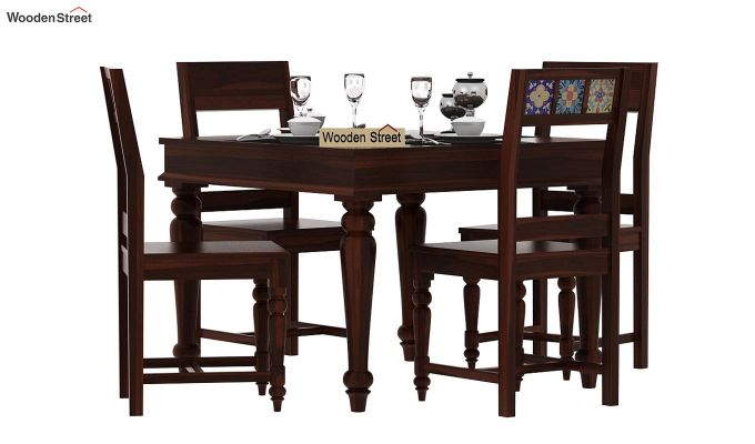 Boho 4 Seater Dining Table Set (Walnut Finish)-1