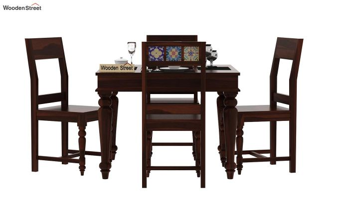 Boho 4 Seater Dining Table Set (Walnut Finish)-2
