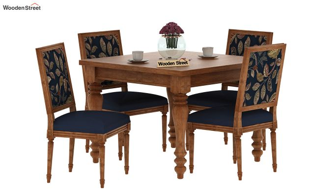 Bonita 4 Seater Printed Dining Set (Dusky Leaf, Natural Finish)-2