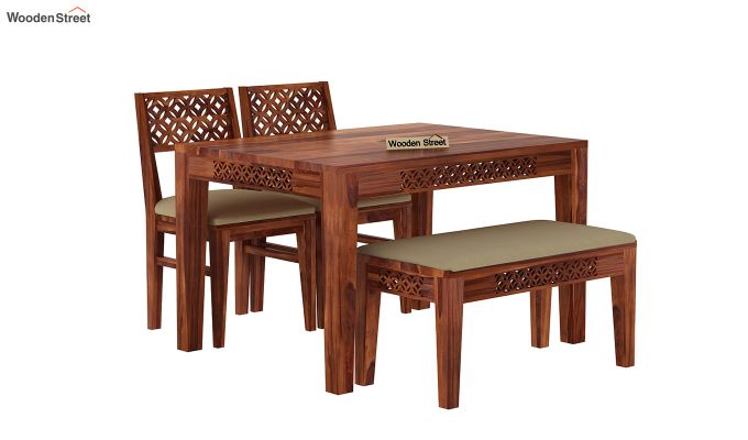 Cambrey Compact 4 Seater Dining Set with Bench (Honey Finish)-2