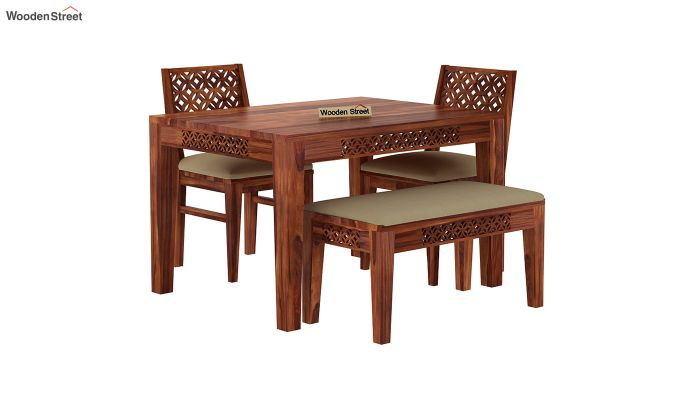 Cambrey Compact 4 Seater Dining Set with Bench (Honey Finish)-3