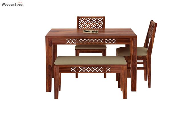 Cambrey Compact 4 Seater Dining Set with Bench (Honey Finish)-4