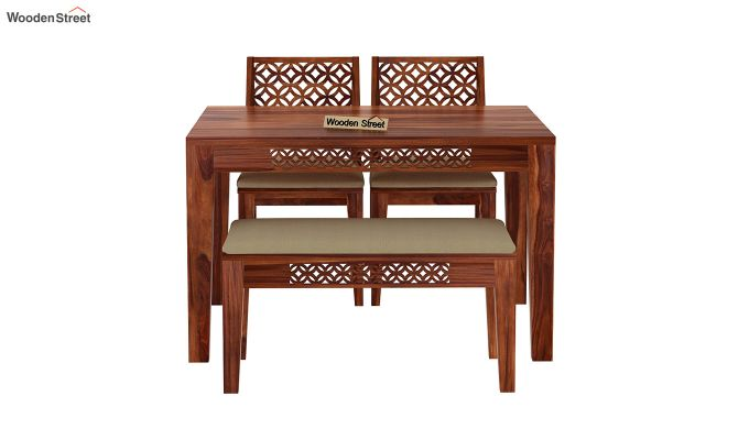 Cambrey Compact 4 Seater Dining Set with Bench (Honey Finish)-5