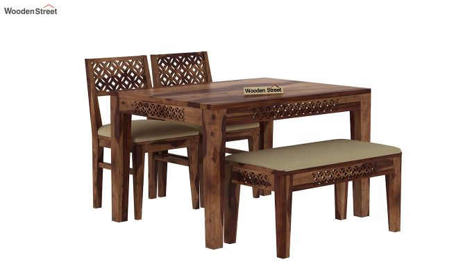 Cambrey Compact 4 Seater Dining Set with Bench (Teak Finish)-2