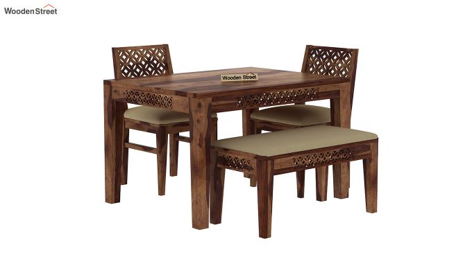 Cambrey Compact 4 Seater Dining Set with Bench (Teak Finish)-3