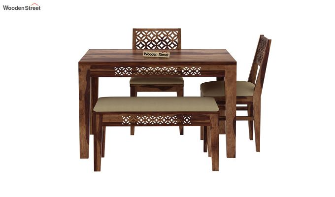 Cambrey Compact 4 Seater Dining Set with Bench (Teak Finish)-4
