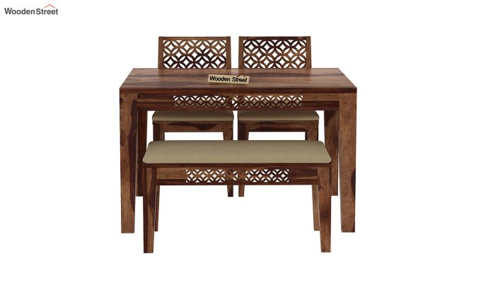 Cambrey Compact 4 Seater Dining Set with Bench (Teak Finish)-5