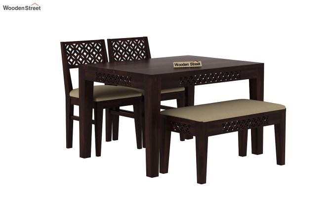 Cambrey Compact 4 Seater Dining Set with Bench (Walnut Finish)-2