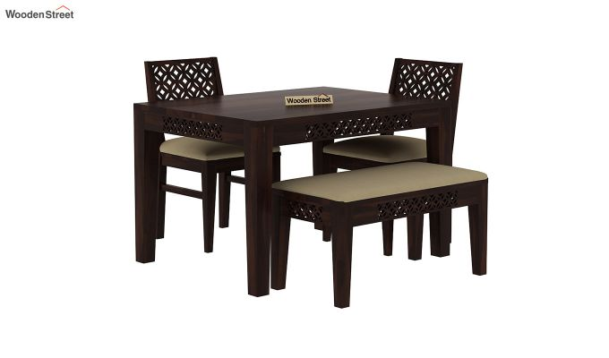 Cambrey Compact 4 Seater Dining Set with Bench (Walnut Finish)-3