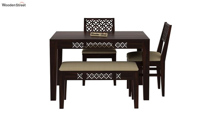 Cambrey Compact 4 Seater Dining Set with Bench (Walnut Finish)-4