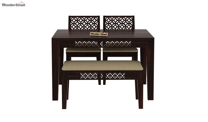Cambrey Compact 4 Seater Dining Set with Bench (Walnut Finish)-5