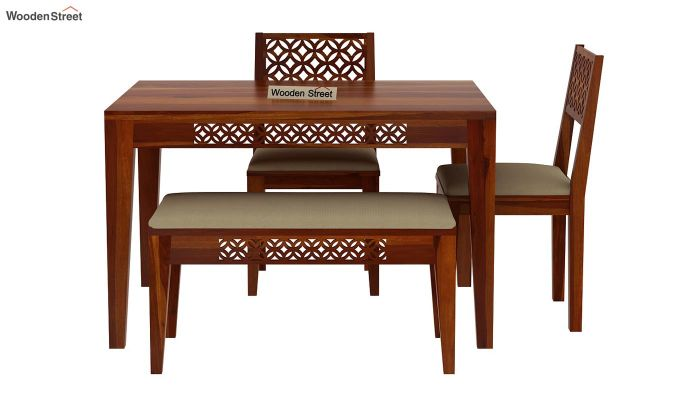 Cambrey Compact 4 Seater Dining Set with Bench (Honey Finish)-6