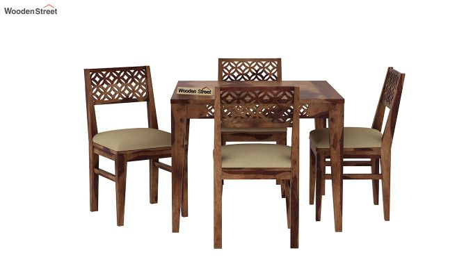 Cambrey 4 Seater Cushioned Dining Set (Teak Finish)-3