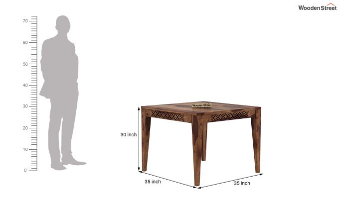 Cambrey 4 Seater Cushioned Dining Set (Teak Finish)-8