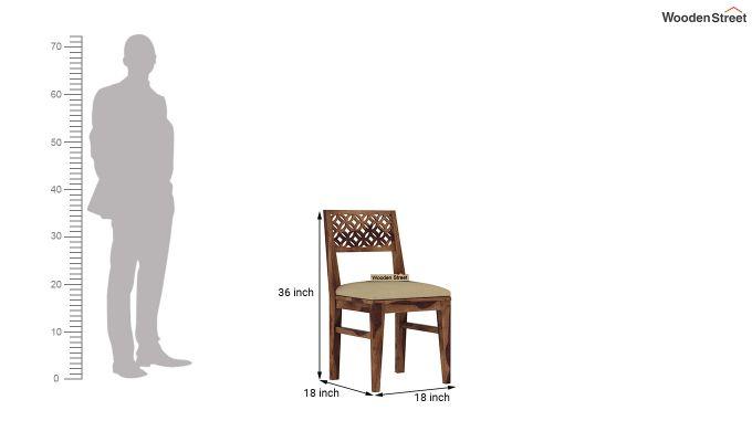 Cambrey 4 Seater Cushioned Dining Set (Teak Finish)-9