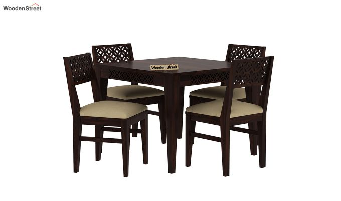Cambrey 4 Seater Cushioned Dining Set (Walnut Finish)-2