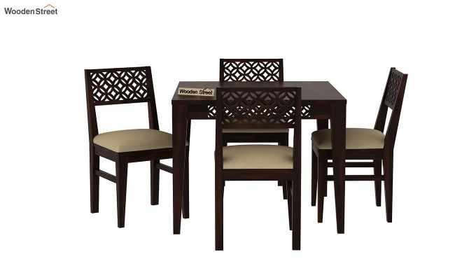 Cambrey 4 Seater Cushioned Dining Set (Walnut Finish)-3