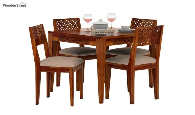 Cambrey 4 Seater Cushioned Dining Set (Honey Finish)-2
