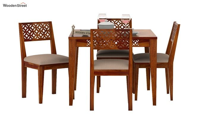 Cambrey 4 Seater Cushioned Dining Set (Honey Finish)-3