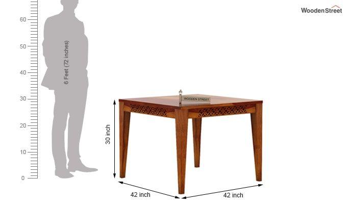 Cambrey 4 Seater Cushioned Dining Set (Honey Finish)-9