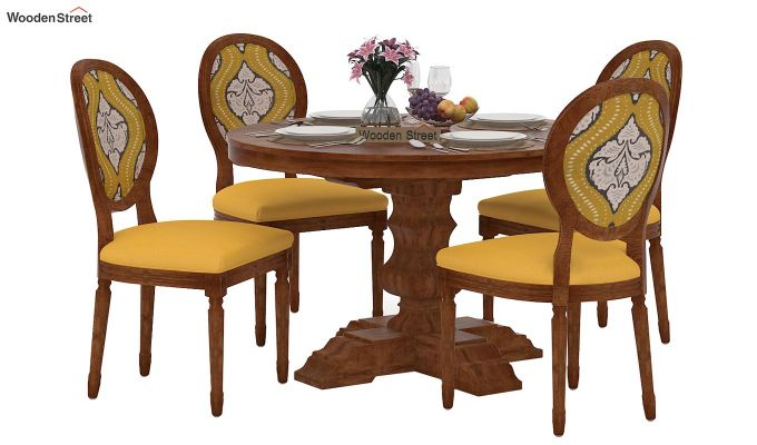 Clark 4 Seater Printed Round Dining Set (Mustard Coral, Natural Finish)-2