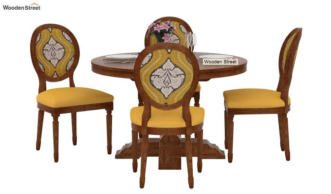 Clark 4 Seater Printed Round Dining Set (Mustard Coral, Natural Finish)-3