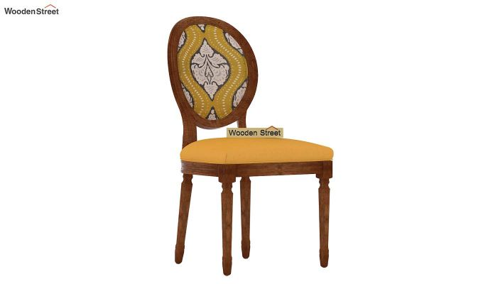 Clark 4 Seater Printed Round Dining Set (Mustard Coral, Natural Finish)-9