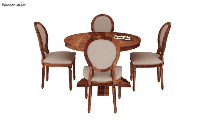 Clark 4 Seater Round Dining Set (Honey Finish)-3