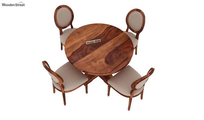 Clark 4 Seater Round Dining Set (Honey Finish)-4